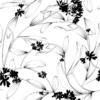 Kép 2/3 - Öntapadós tapéta - fekete-fehér növény minta