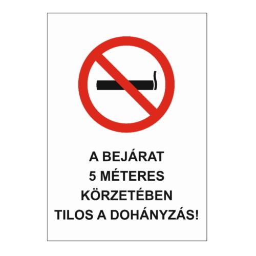 5 méteren belül tilos a dohányzás tábla