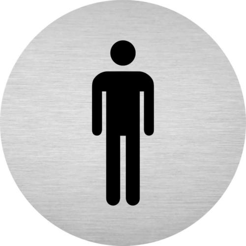 Alumínium piktogram - férfi WC - kör alakú, gravírozott