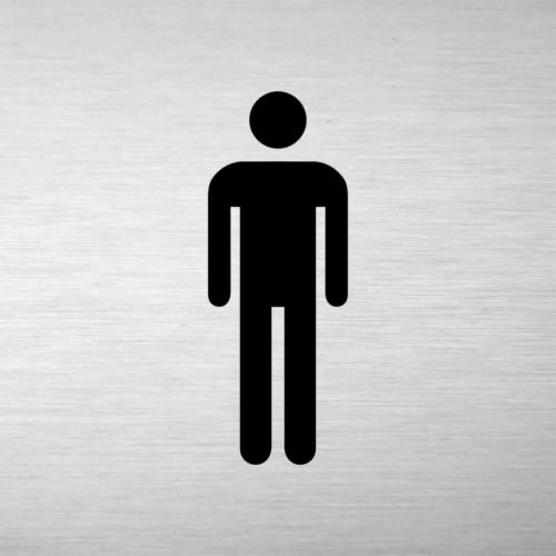 Alumínium piktogram - férfi WC - négyszögletes, gravírozott