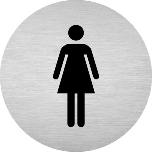 Alumínium piktogram - női WC - kör alakú - gravírozott