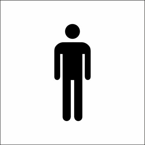 Műanyag piktogram - férfi mosdó - fehér/fekete - fóliázott