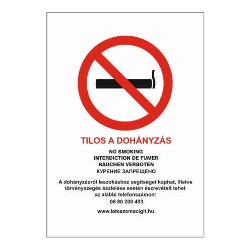Tilos a dohányzás tábla