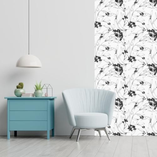 Öntapadós tapéta - fekete-fehér virágok