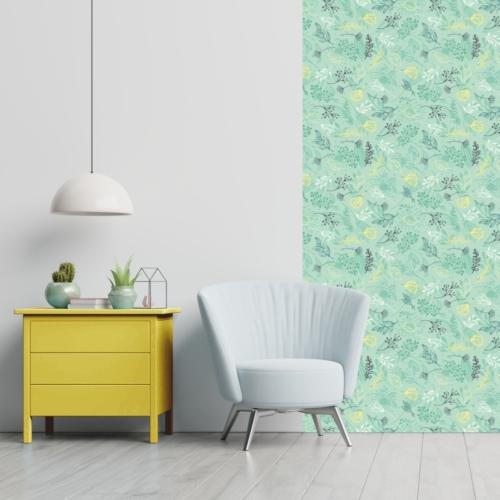 Öntapadós tapéta - halványzöld növényes