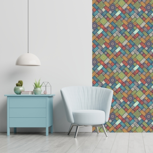Öntapadós tapéta - színes mozaik mintás