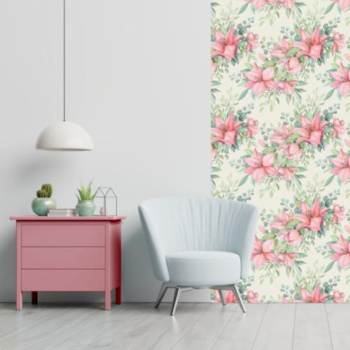 Öntapadós tapéta - rózsaszín akvarell virág mintás