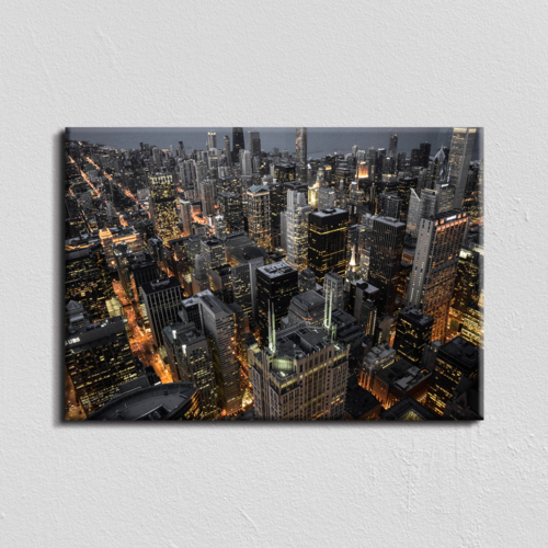 Vászonkép - éjszakai metropolisz - 40x60 cm