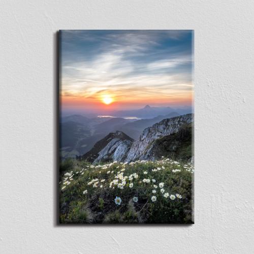 Vászonkép - napfelkelte a hegyekben - 40x60 cm
